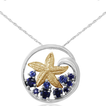 Sterling Silver /14K Yellow Gold Graduated Blue Sapphire Starfish Pendant | PSL031GSXNI