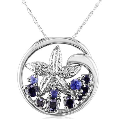 Sterling Silver Graduated Blue Sapphire Starfish Pendant | PSL031GSXSI