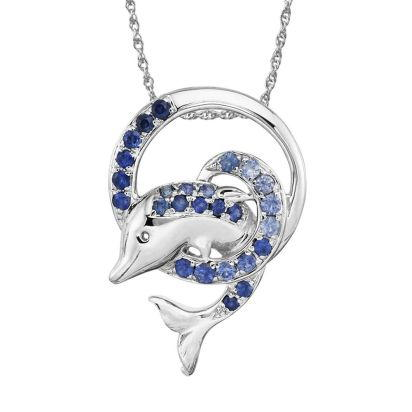 Sterling Silver Graduated Blue Sapphire Dolphin Pendant | PSL034GSXSI