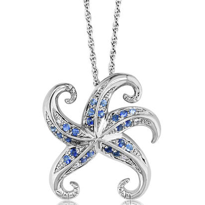 Sterling Silver Graduated Blue Sapphire/Diamond Starfish Pendant | PSL038GS2SI