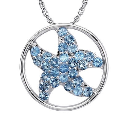 Sterling Silver Blue Topaz Starfish Pendant (With Chain) | PSL040B2XSI-CH