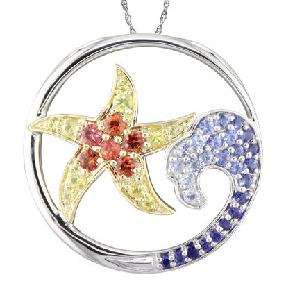 Sterling Silver /14K Yellow Gold Graduated Blue Sapphire/Yellow & Orange Sapphire Starfish Pendant | PSL041GSXNI