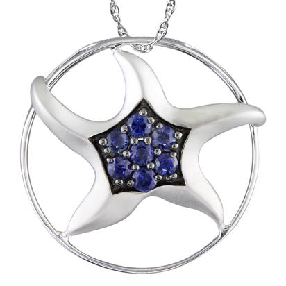 14K White Gold Graduated Blue Sapphire Starfish Pendant