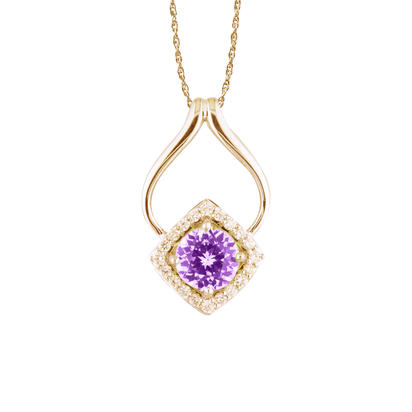 14K Yellow Gold Purple Garnet/Diamond Pendant | PSR002GP2CI
