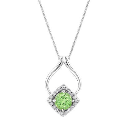 14K White Gold Mint Garnet/Diamond Pendant