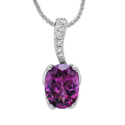 14K White Gold Purple Garnet/Diamond Pendant | PSR008GP2WI