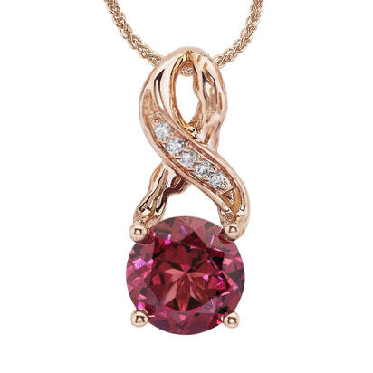 14K Rose Gold Rhodolite Garnet/Diamond Pendant