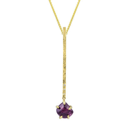 14K Yellow Gold Purple Garnet/Diamond Hammer Finish Pendant | PSR016GP2005C