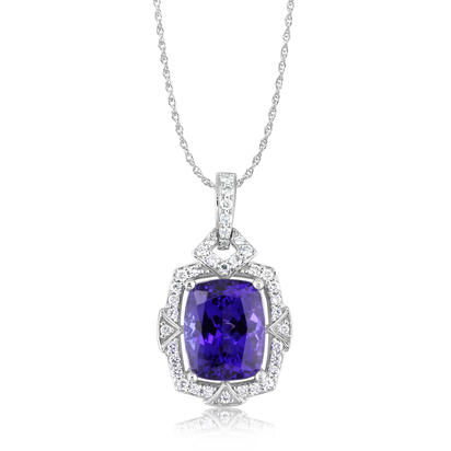 18K White Gold Tanzanite/Diamond Pendant | PTZCU715405QI