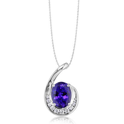 18K White Gold Tanzanite/Diamond Pendant | PTZOV715290QI