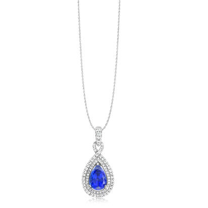 18K White Gold Tanzanite/Diamond Pendant | PTZPR740239QI