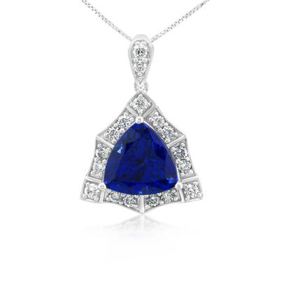 18K White Gold Tanzanite/Diamond Pendant | PTZTR700430QI