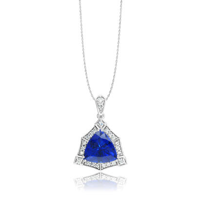 18K White Gold Tanzanite/Diamond Pendant | PTZTR720587QI