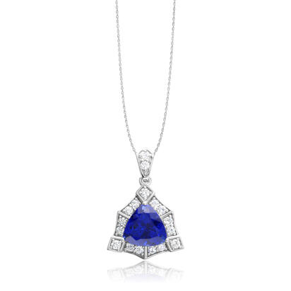 18K White Gold Tanzanite/Diamond Pendant | PTZTR740370QI