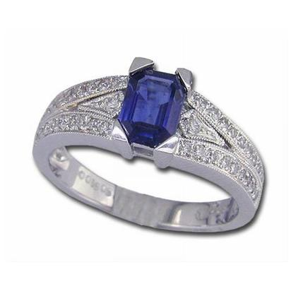 18K White Gold Blue Sapphire/Diamond Ring | R138DSQI