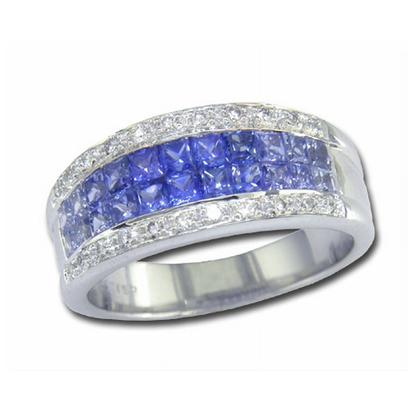 14K White Gold Grad Blue Sapp/Diamond Ring