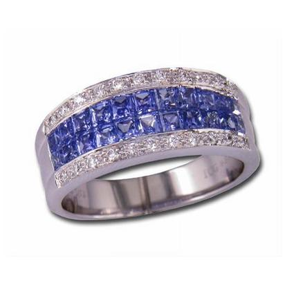 14K White Gold Solid Blue Sap/Diamond Ring | R20DAPS1WI