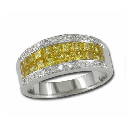 14K White Gold Solid Yellow Sapphire/Diamond Ring