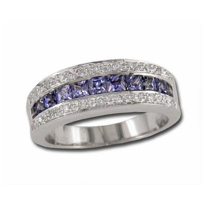 14K White Gold Solid Blue Sapphire/Diamond Ring | R25DBS1WI