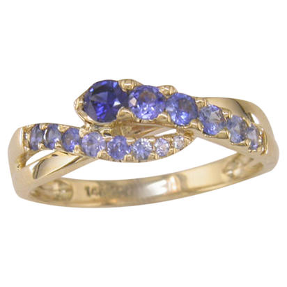 14K Yellow Gold Graduated Blue Sapphire Ring | R325GUGS1I