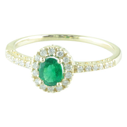 14K Yellow Gold Emerald & Diamond Ring -D' | R48DAAE1I