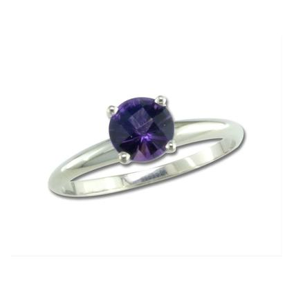 14K White Gold Checkerboard Amethyst Martini Ring | R601MVACW