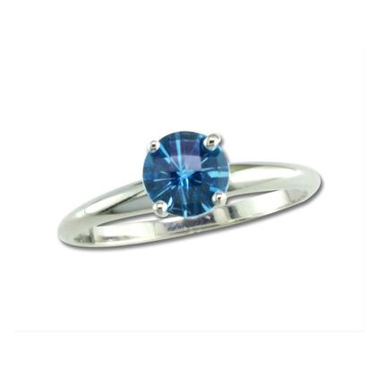 14K White Gold Checkerboard Blue Topaz Martini Ring | R601MVBCW