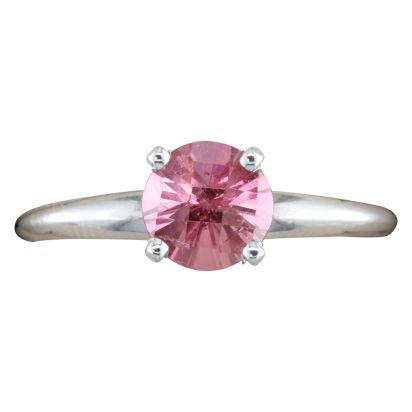 14K White Gold Checkerboard Pink Tourmaline Martini Ring | R601MVHCW