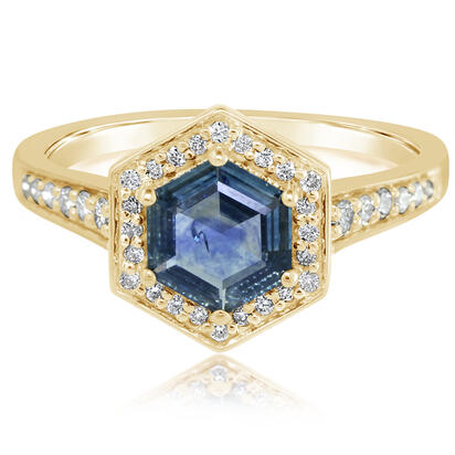 14K Yellow Gold Montana Sapphire/Diamond Ring | R6RHMS120C