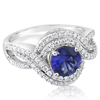 18K White Gold Blue Sapphire/Diamond Ring | R70S0138QI