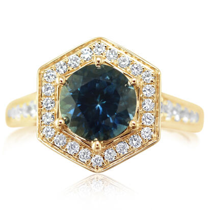 14K Yellow Gold Montana Sapphire/Diamond Ring | R80MS250CI