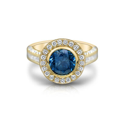 14K Yellow Gold Montana Sapphire/Diamond Ring | R80MS265CI