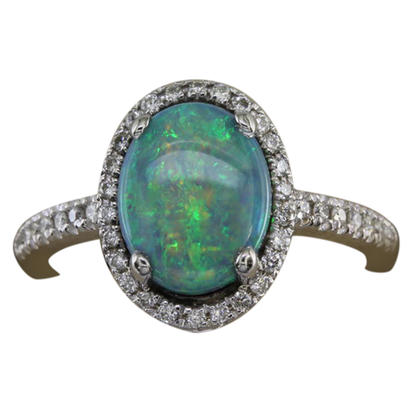 14K White Gold Australian Opal/Diamond Ring | R81N0171W