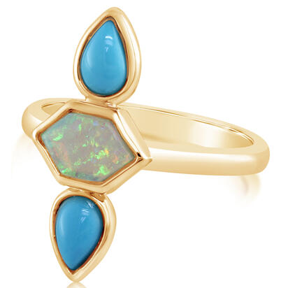 14K Yellow Gold Australian Opal/Arizona Turquoise Ring | R85HN1AQC