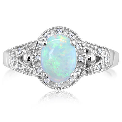 14K White Gold Australian Opal/Diamond Ring | R86DAIN2WI
