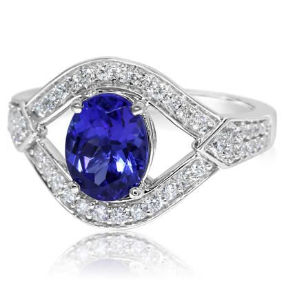 18K White Gold Tanzanite/Diamond Ring | R86RJ1186QI