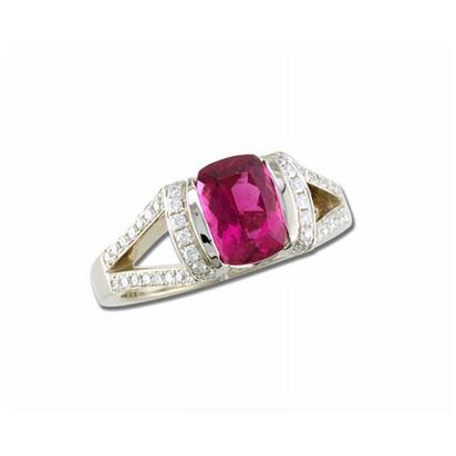 18K White Gold Raspberry Tourmaline(Rubellite)/Diamond Ring | R86RK142QI