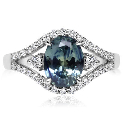18K White Gold Montana Sapphire/Diamond Ring | R97MS232QI