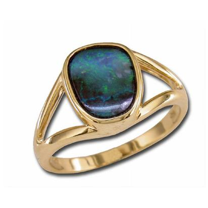 14K Yellow Gold Boulder Opal Split Shank Ring | RB002-15I