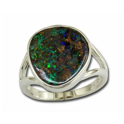 Sterling Silver Opal Boulder Samll Stone Ring | RB002S-3I