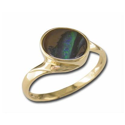 14K Yellow Gold Boulder Opal Ring | RB30-15I