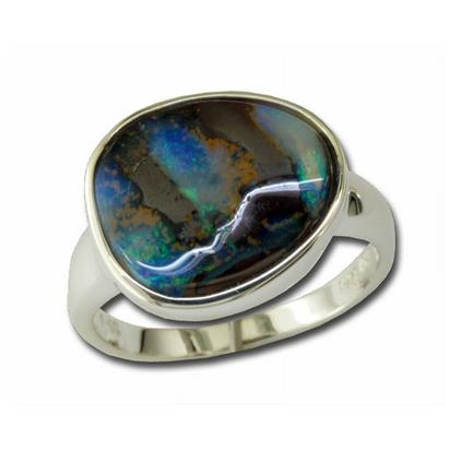 Sterling Silver Opal Boulder Ring | RB53S-8I