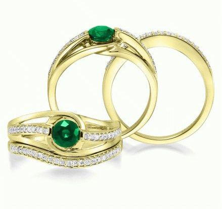 Fuse - 14K Yellow Gold 5mm Round Emerald/Diamond Wedding Ring | RBC001E13CI