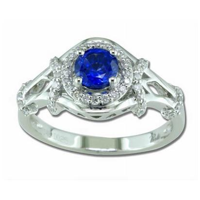 Entranced - 14K White Gold 5mm Round Blue Sapphire/Diamond Wedding Ring | RBC005S13WI