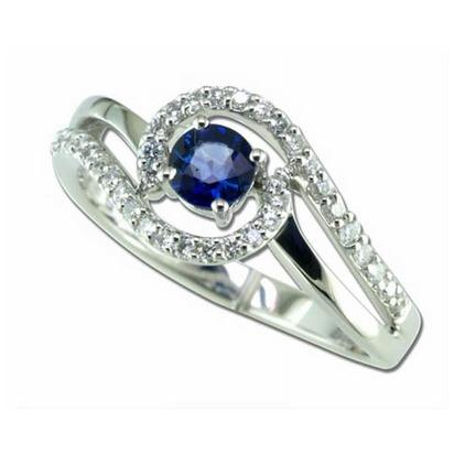 Glimmer - 14K White Gold 4mm Round Blue Sapphire/Diamond Wedding Ring | RBC006S13WI