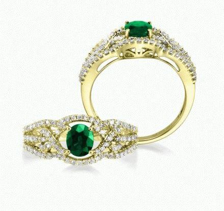 Entwine - 14K Yellow Gold 5x6 Oval Emerald/Diamond Wedding Ring | RBC008E13CI