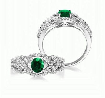 Entwine - 14K White Gold 5x6 Oval Emerald/Diamond Wedding Ring | RBC008E13WI