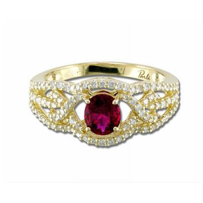 Entwine - 14K Yellow Gold 5x6 Oval Madagascar Ruby/Diamond Wedding Ring | RBC008RM3CI