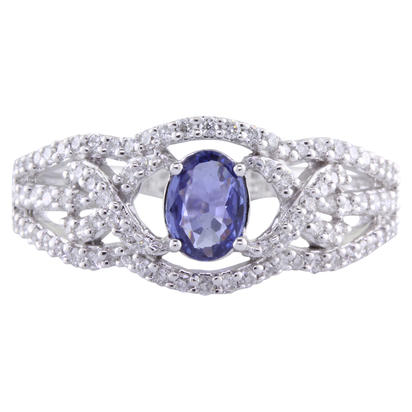 14K White Gold Oval Yogo Sapphire/Diamond Wedding Ring | RBC008Y13WI