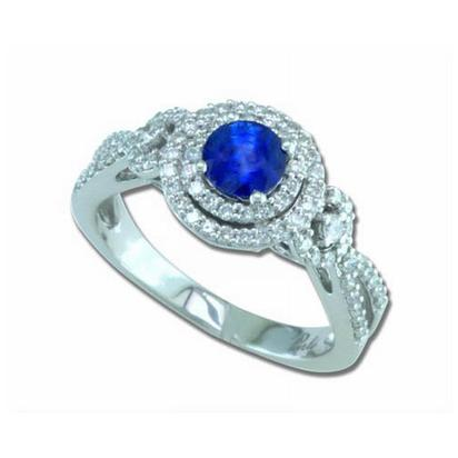 Masquerade - 14K White Gold 5mm Round Blue Sapphire/Diamond Wedding Ring | RBC009S13WI